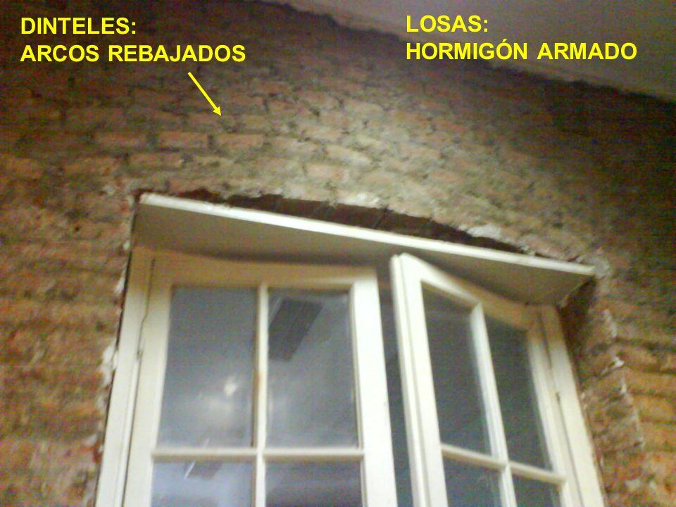 DINTELES: ARCOS REBAJADOS LOSAS: HORMIGÓN ARMADO