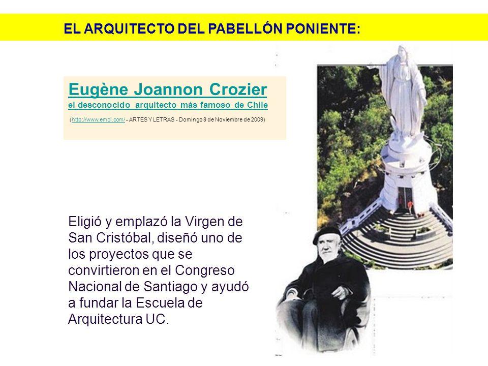Eligió y emplazó la Virgen de San Cristóbal, diseñó uno de los proyectos que se convirtieron en el Congreso Nacional de Santiago y ayudó a fundar la E