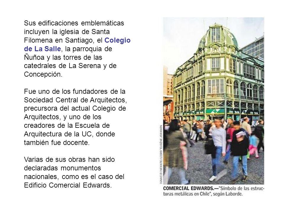 Sus edificaciones emblemáticas incluyen la iglesia de Santa Filomena en Santiago, el Colegio de La Salle, la parroquia de Ñuñoa y las torres de las ca