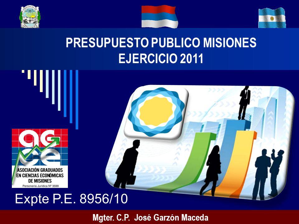 PRESUPUESTO PUBLICO MISIONES EJERCICIO 2011 Mgter. C.P. José Garzón Maceda Expte P.E. 8956/10