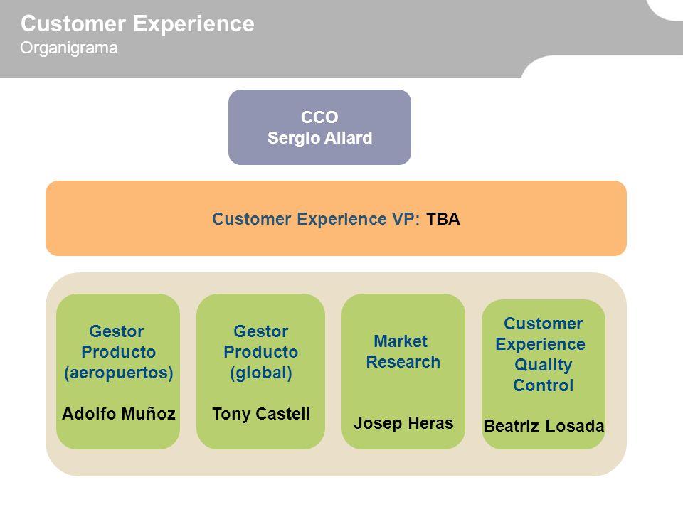 Customer Experience VP: TBA Market Research Josep Heras Gestor Producto (aeropuertos) Adolfo Muñoz CCO Sergio Allard Customer Experience Organigrama G