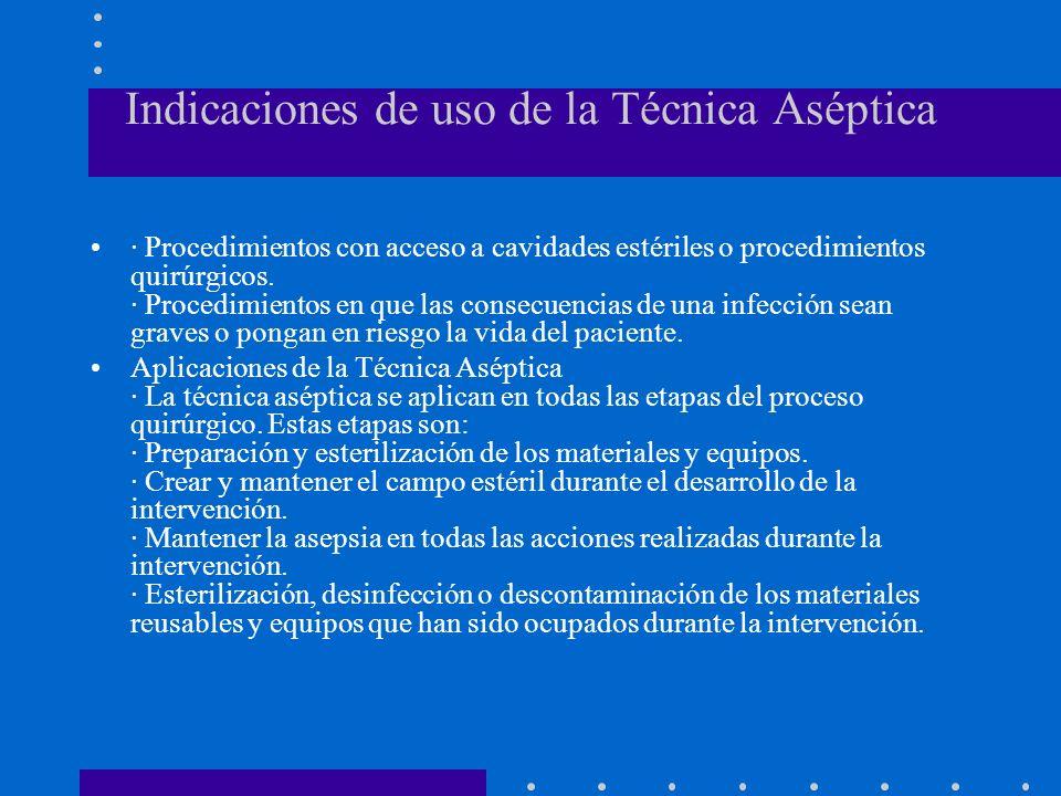 Indicaciones de uso de la Técnica Aséptica · Procedimientos con acceso a cavidades estériles o procedimientos quirúrgicos. · Procedimientos en que las