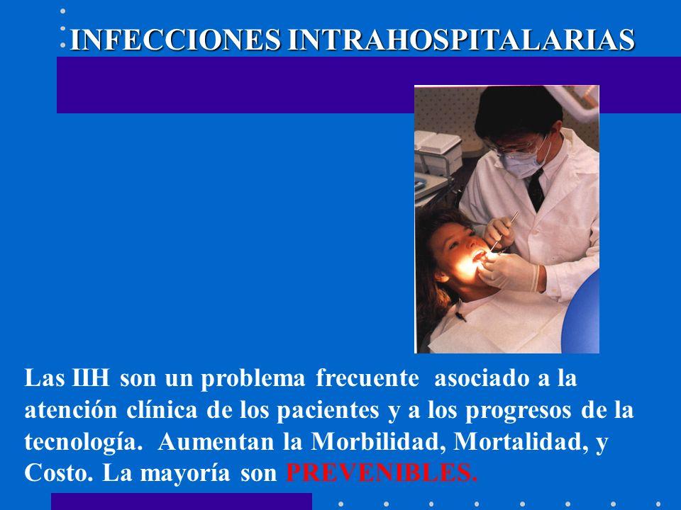INFECCIONES INTRAHOSPITALARIAS Las IIH son un problema frecuente asociado a la atención clínica de los pacientes y a los progresos de la tecnología. A