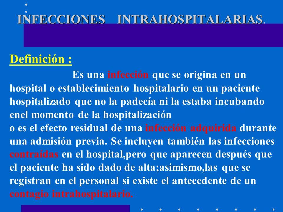 INFECCIONES INTRAHOSPITALARIAS INFECCIONES INTRAHOSPITALARIAS. Definición : Es una infección que se origina en un hospital o establecimiento hospitala