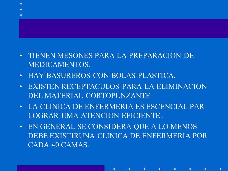 TIENEN MESONES PARA LA PREPARACION DE MEDICAMENTOS.