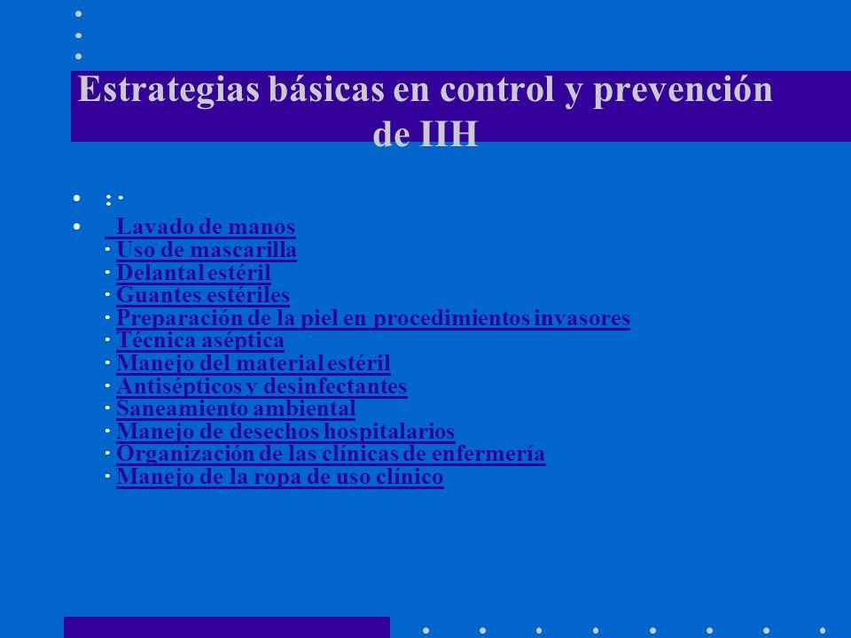 Estrategias básicas en control y prevención de IIH : · Lavado de manos · Uso de mascarilla · Delantal estéril · Guantes estériles · Preparación de la piel en procedimientos invasores · Técnica aséptica · Manejo del material estéril · Antisépticos y desinfectantes · Saneamiento ambiental · Manejo de desechos hospitalarios · Organización de las clínicas de enfermería · Manejo de la ropa de uso clínico Lavado de manosUso de mascarillaDelantal estérilGuantes estérilesPreparación de la piel en procedimientos invasoresTécnica asépticaManejo del material estérilAntisépticos y desinfectantesSaneamiento ambientalManejo de desechos hospitalariosOrganización de las clínicas de enfermeríaManejo de la ropa de uso clínico