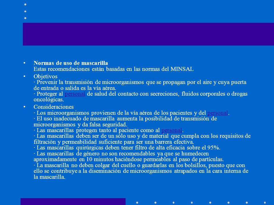 Normas de uso de mascarilla Estas recomendaciones están basadas en las normas del MINSAL Objetivos · Prevenir la transmisión de microorganismos que se