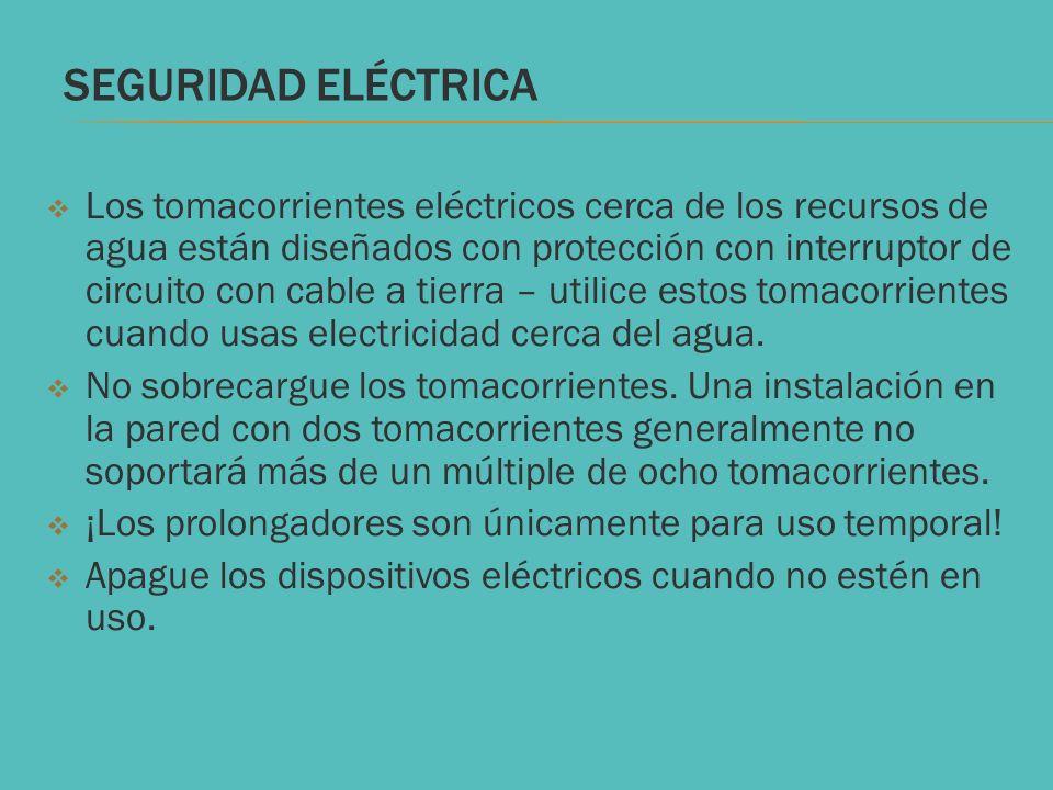 SEGURIDAD ELÉCTRICA Los tomacorrientes eléctricos cerca de los recursos de agua están diseñados con protección con interruptor de circuito con cable a