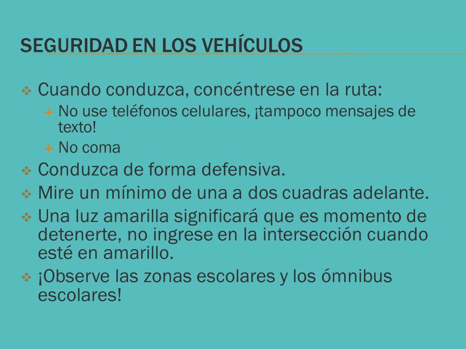 SEGURIDAD EN LOS VEHÍCULOS Cuando conduzca, concéntrese en la ruta: No use teléfonos celulares, ¡tampoco mensajes de texto! No coma Conduzca de forma
