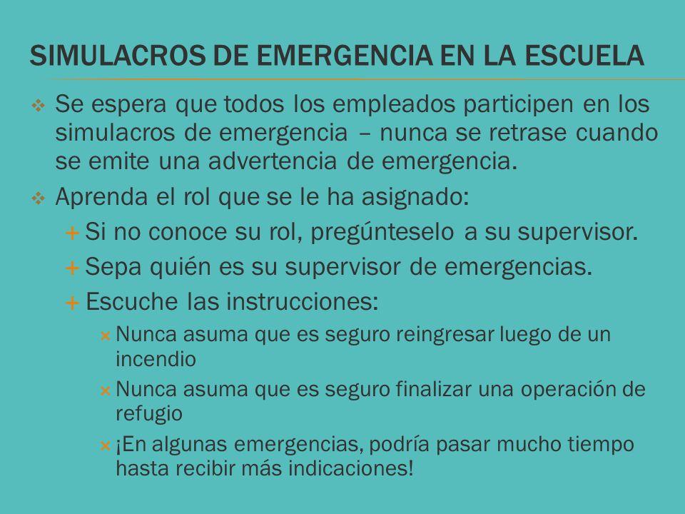 SIMULACROS DE EMERGENCIA EN LA ESCUELA Se espera que todos los empleados participen en los simulacros de emergencia – nunca se retrase cuando se emite