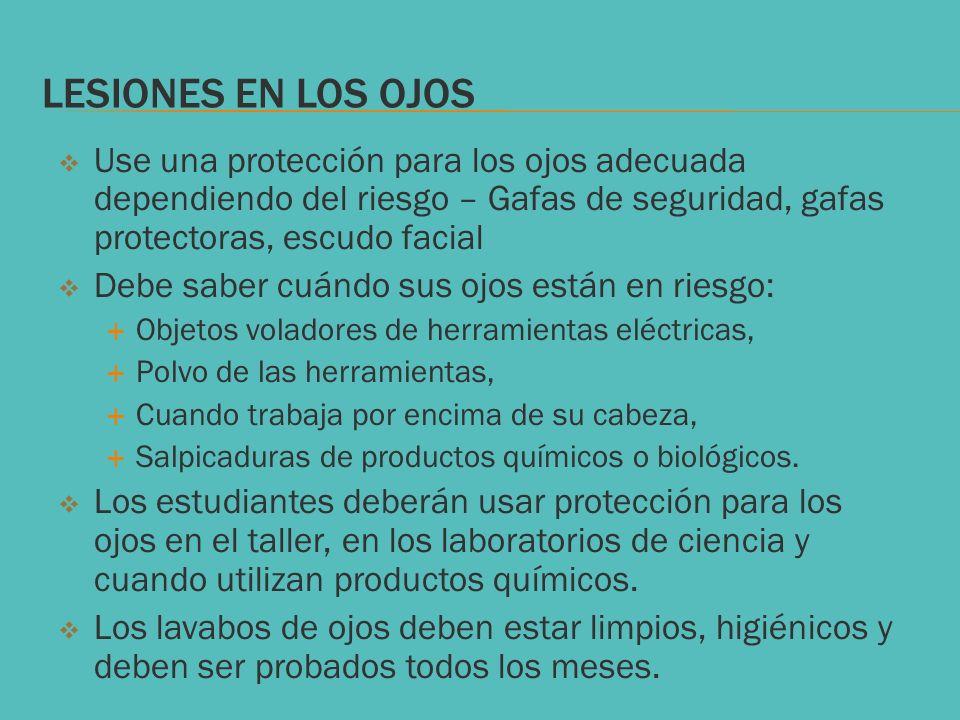 LESIONES EN LOS OJOS Use una protección para los ojos adecuada dependiendo del riesgo – Gafas de seguridad, gafas protectoras, escudo facial Debe sabe