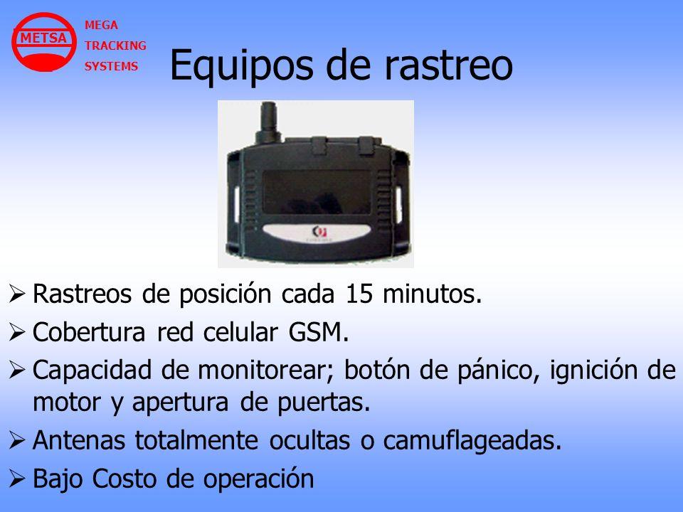 Equipos de rastreo Rastreos de posición cada 15 minutos. Cobertura red celular GSM. Capacidad de monitorear; botón de pánico, ignición de motor y aper