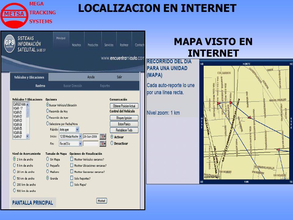 MEGA TRACKING SYSTEMS LOCALIZACION EN INTERNET MAPA VISTO EN INTERNET