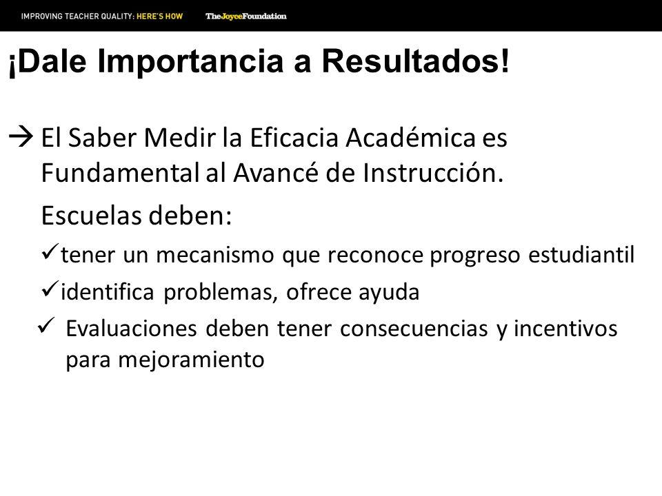 ¡Dale Importancia a Resultados! El Saber Medir la Eficacia Académica es Fundamental al Avancé de Instrucción. Escuelas deben: tener un mecanismo que r