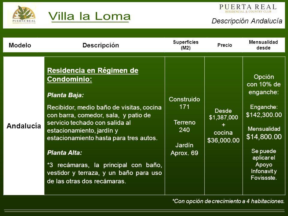 Andalucía Residencia en Régimen de Condominio: Planta Baja: Recibidor, medio baño de visitas, cocina con barra, comedor, sala, y patio de servicio techado con salida al estacionamiento, jardín y estacionamiento hasta para tres autos.