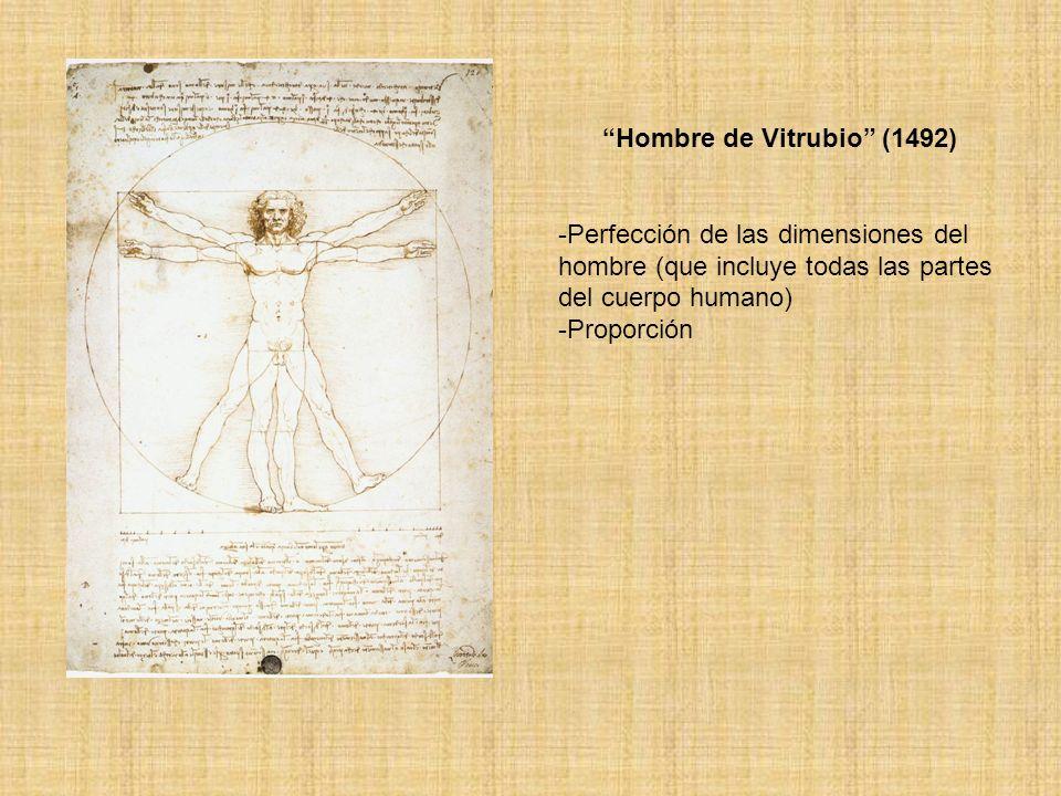 Hombre de Vitrubio (1492) -Perfección de las dimensiones del hombre (que incluye todas las partes del cuerpo humano) -Proporción