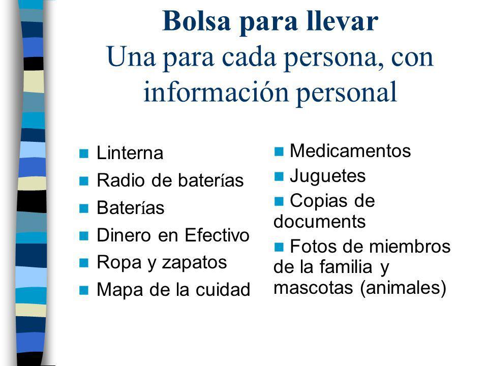 Equipo de emergencia Botiqu í n de primeros auxilios Copias de documentos y numeros de telefono Ropa de invierno Guantes de trabajo Higiene personal –