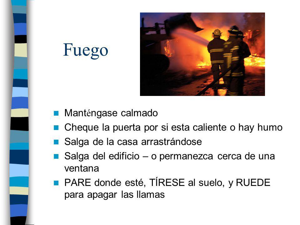 Prepárese por si acaso hay Fuego Chequea detectores de humo y los extintores/ Trate de no usar velas Determine un sitio de reunion con su familia P í