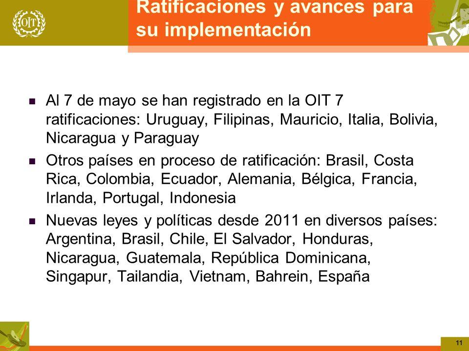 11 Ratificaciones y avances para su implementación Al 7 de mayo se han registrado en la OIT 7 ratificaciones: Uruguay, Filipinas, Mauricio, Italia, Bo