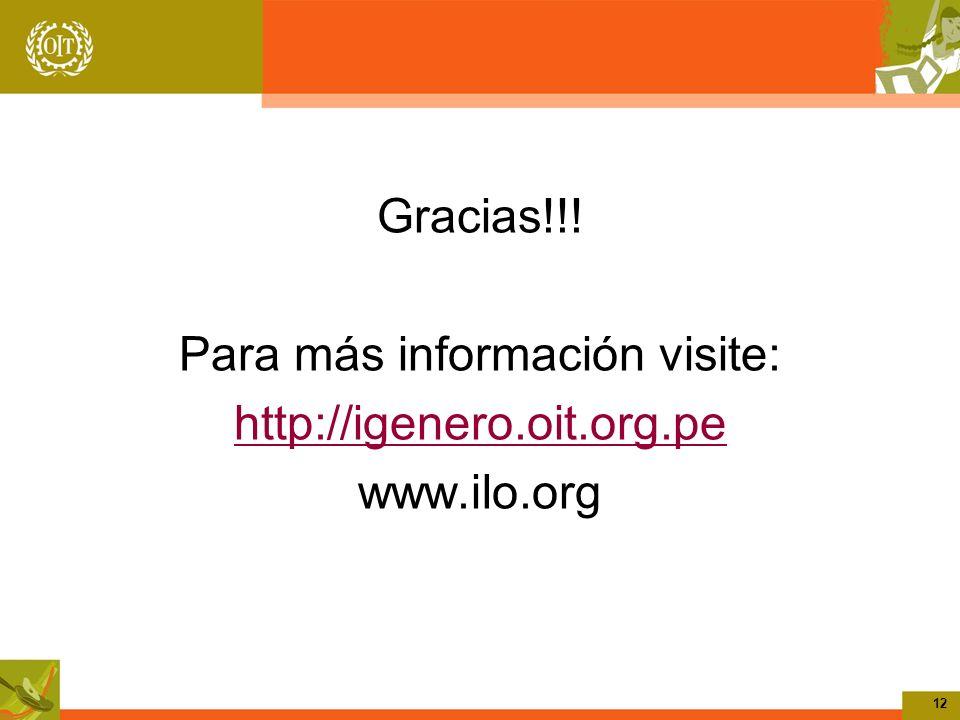 12 Gracias!!! Para más información visite: http://igenero.oit.org.pe www.ilo.org