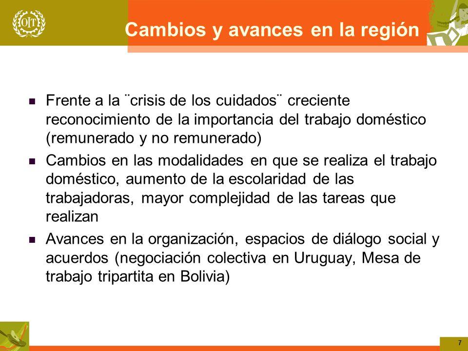 7 Cambios y avances en la región Frente a la ¨crisis de los cuidados¨ creciente reconocimiento de la importancia del trabajo doméstico (remunerado y n