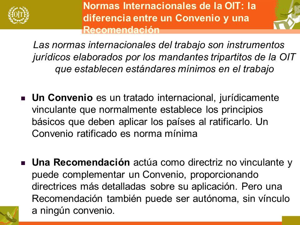 Normas Internacionales de la OIT: la diferencia entre un Convenio y una Recomendación Las normas internacionales del trabajo son instrumentos jurídico