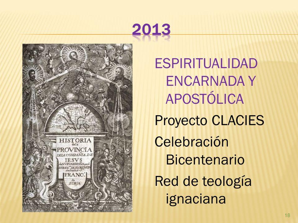 ESPIRITUALIDAD ENCARNADA Y APOSTÓLICA Proyecto CLACIES Celebración Bicentenario Red de teología ignaciana 18