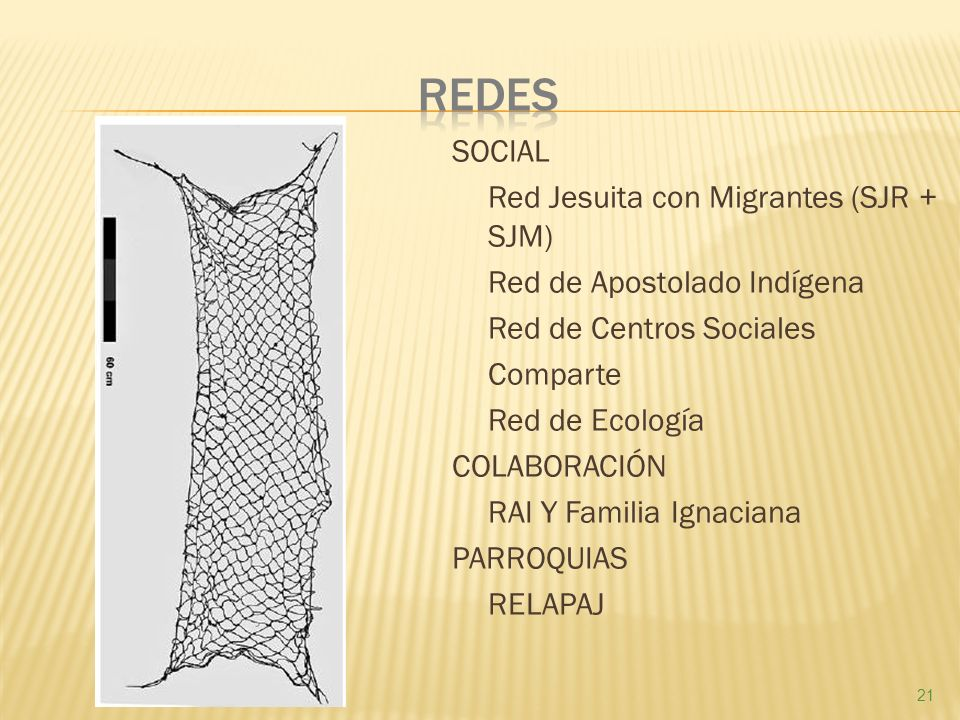 SOCIAL Red Jesuita con Migrantes (SJR + SJM) Red de Apostolado Indígena Red de Centros Sociales Comparte Red de Ecología COLABORACIÓN RAI Y Familia Ignaciana PARROQUIAS RELAPAJ 21