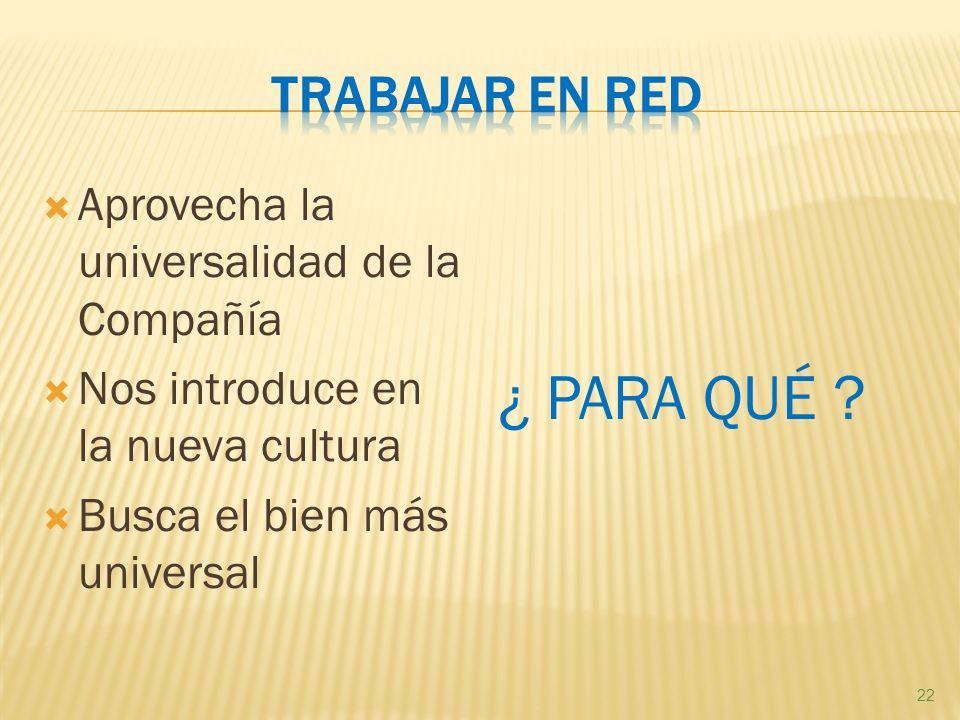 Aprovecha la universalidad de la Compañía Nos introduce en la nueva cultura Busca el bien más universal ¿ PARA QUÉ .