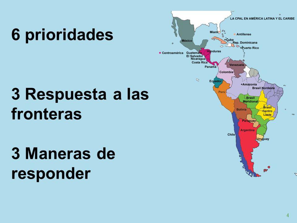 5 Cercanía y compromiso con quienes viven en las fronteras de la exclusión Atender preferencialmente a migrantes, indígenas, víctimas de la violencia y otras poblaciones vulnerables, mediante la presencia cercana, la reflexión y la incidencia.