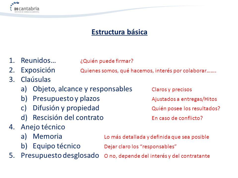 Estructura básica 1. 1.Reunidos… ¿Quién puede firmar? 2. 2.Exposición Quienes somos, qué hacemos, interés por colaborar……. 3. 3.Claúsulas a) a)Objeto,