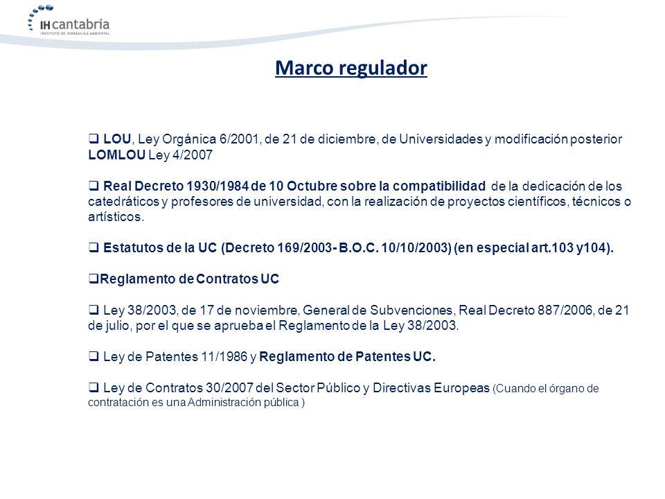LOU, Ley Orgánica 6/2001, de 21 de diciembre, de Universidades y modificación posterior LOMLOU Ley 4/2007 Real Decreto 1930/1984 de 10 Octubre sobre l