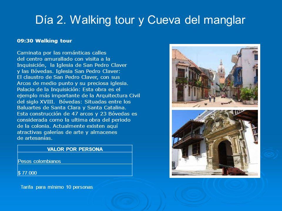 09:30 Walking tour Caminata por las románticas calles del centro amurallado con visita a la Inquisición, la Iglesia de San Pedro Claver y las Bóvedas.