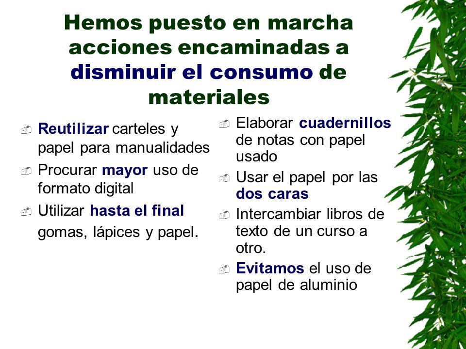 Hemos puesto en marcha acciones encaminadas a disminuir el consumo de materiales Reutilizar carteles y papel para manualidades Procurar mayor uso de f