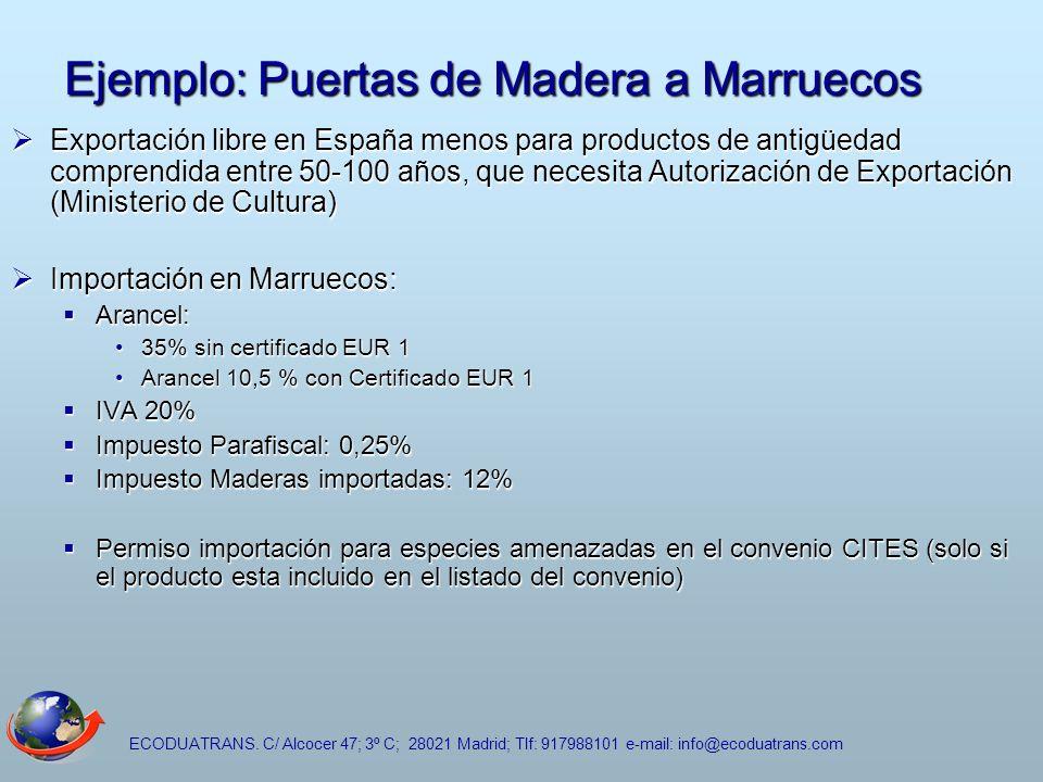 ECODUATRANS. C/ Alcocer 47; 3º C; 28021 Madrid; Tlf: 917988101 e-mail: info@ecoduatrans.com Ejemplo: Puertas de Madera a Marruecos Exportación libre e