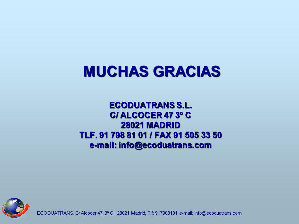 ECODUATRANS. C/ Alcocer 47; 3º C; 28021 Madrid; Tlf: 917988101 e-mail: info@ecoduatrans.com MUCHAS GRACIAS ECODUATRANS S.L. C/ ALCOCER 47 3º C 28021 M