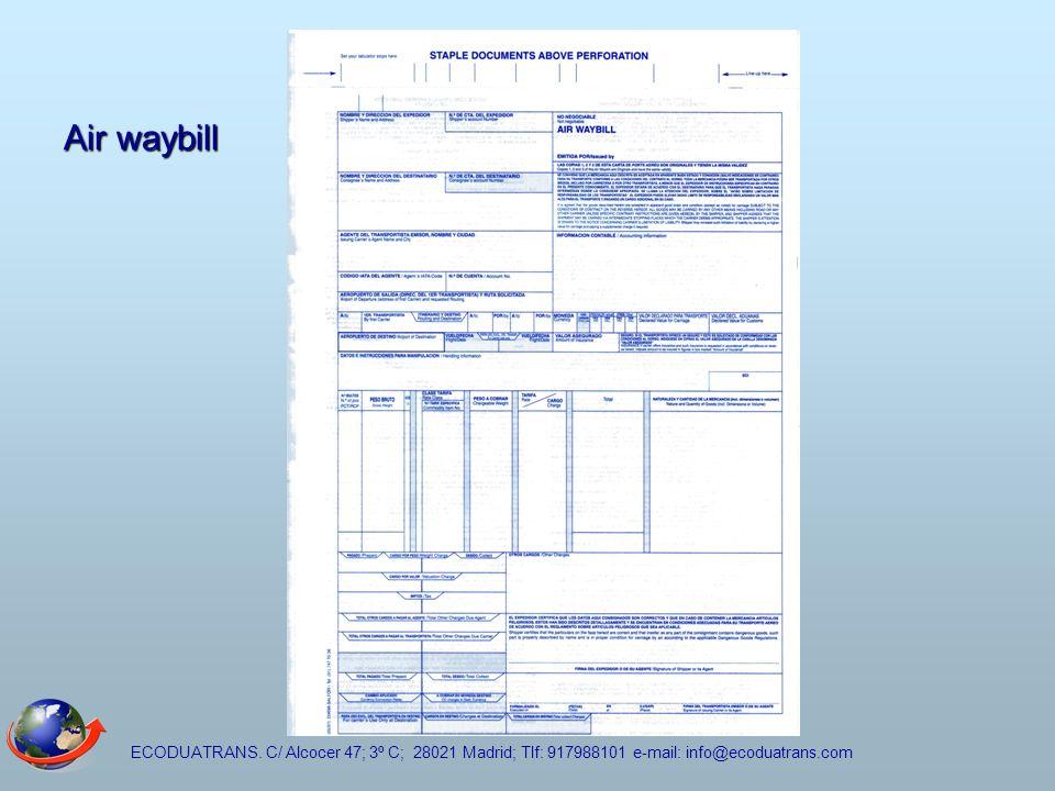 ECODUATRANS. C/ Alcocer 47; 3º C; 28021 Madrid; Tlf: 917988101 e-mail: info@ecoduatrans.com Air waybill