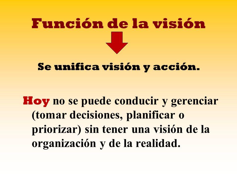 Función de la visión Se unifica visión y acción. Hoy no se puede conducir y gerenciar (tomar decisiones, planificar o priorizar) sin tener una visión