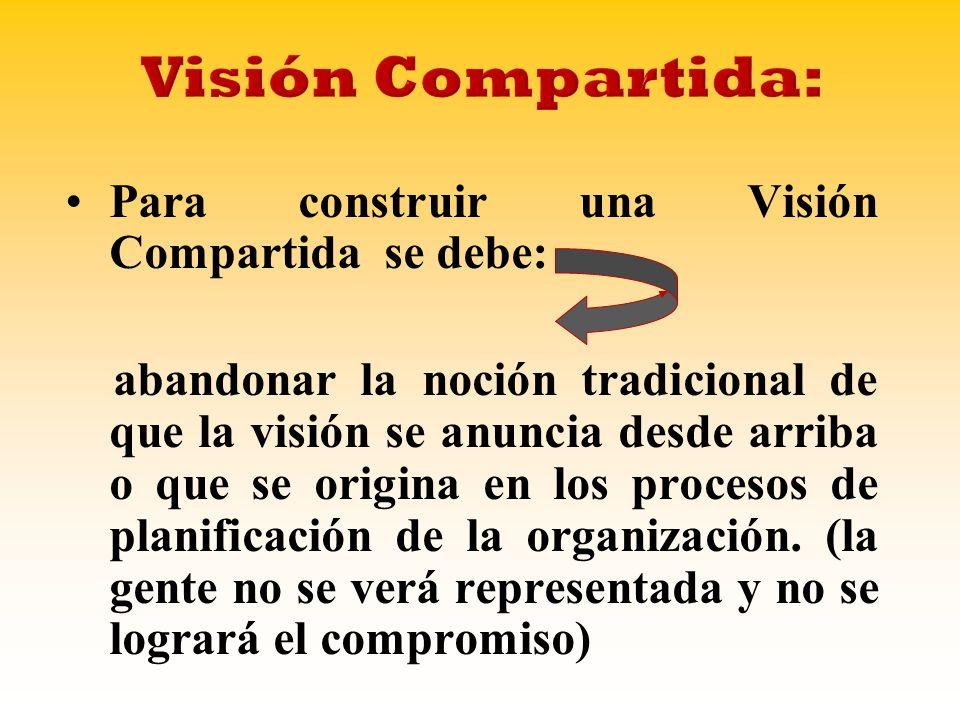 Para construir una Visión Compartida se debe: abandonar la noción tradicional de que la visión se anuncia desde arriba o que se origina en los procesos de planificación de la organización.