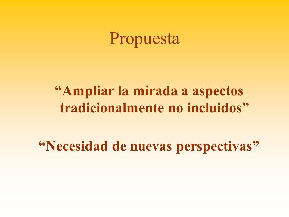 Propuesta Ampliar la mirada a aspectos tradicionalmente no incluidos Necesidad de nuevas perspectivas