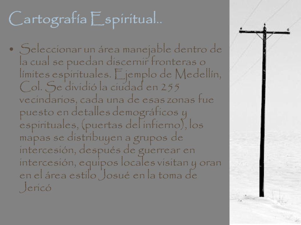 Cartografía Espiritual.. Seleccionar un área manejable dentro de la cual se puedan discernir fronteras o límites espirituales. Ejemplo de Medellín, Co