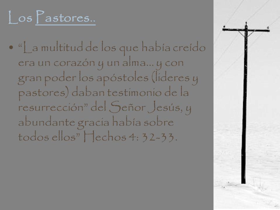 Los Pastores.. La multitud de los que había creído era un corazón y un alma… y con gran poder los apóstoles (lideres y pastores) daban testimonio de l