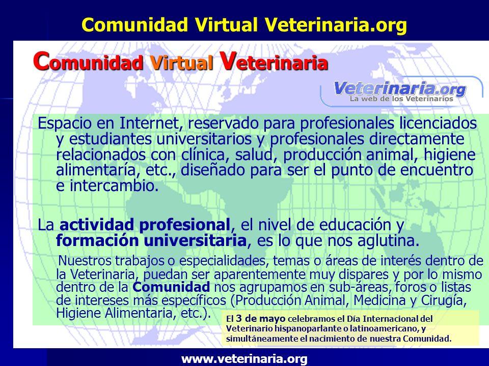 Comunidad Virtual Veterinaria.org Espacio en Internet, reservado para profesionales licenciados y estudiantes universitarios y profesionales directame