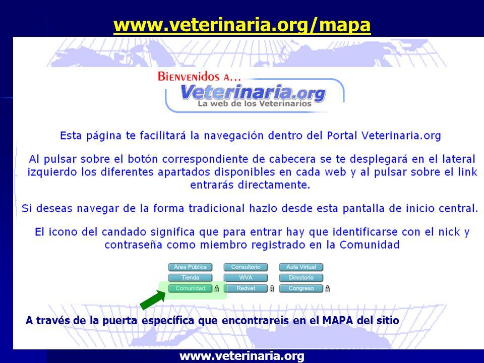 www.veterinaria.org/mapa A través de la puerta específica que encontrareis en el MAPA del sitio www.veterinaria.org