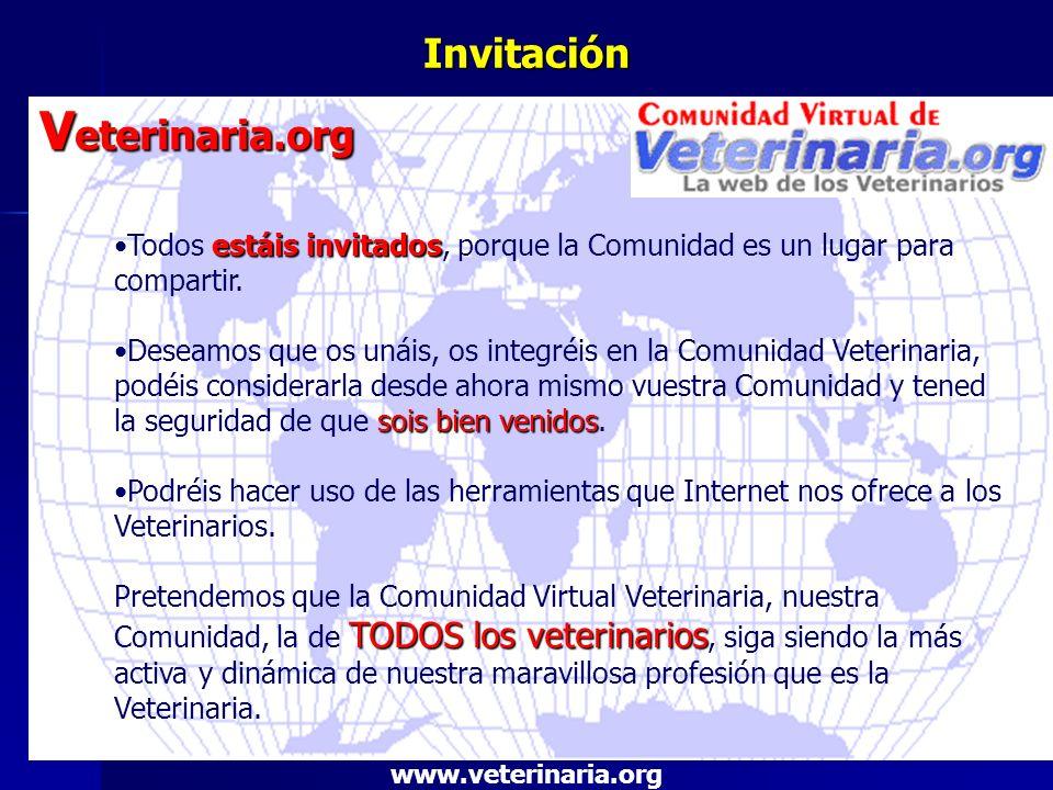 Invitación V eterinaria.org estáis invitadosTodos estáis invitados, porque la Comunidad es un lugar para compartir. sois bien venidosDeseamos que os u