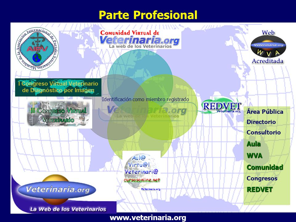 Parte Profesional Área Pública Directorio ConsultorioAulaWVAComunidad CongresosREDVET www.veterinaria.org Identificación como miembro registrado
