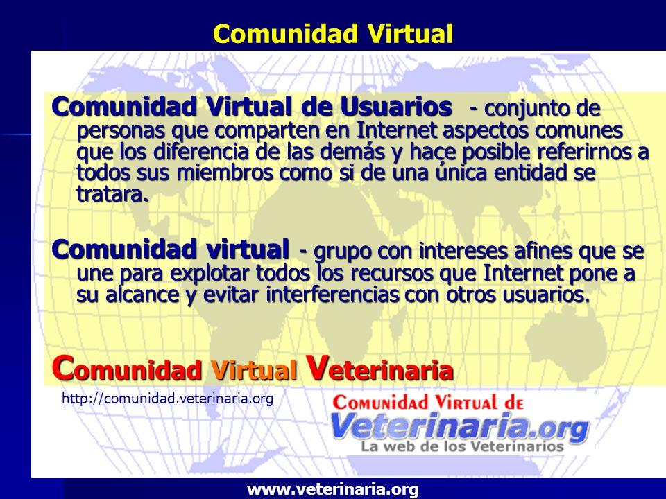 Comunidad Virtual Veterinaria.org Espacio en Internet, reservado para profesionales licenciados y estudiantes universitarios y profesionales directamente relacionados con clínica, salud, producción animal, higiene alimentaría, etc., diseñado para ser el punto de encuentro e intercambio.