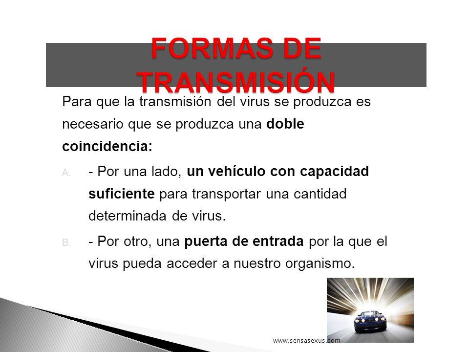Para que la transmisión del virus se produzca es necesario que se produzca una doble coincidencia: A. - Por una lado, un vehículo con capacidad sufici