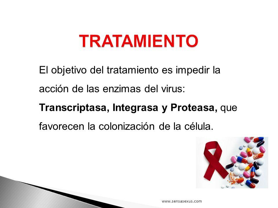 El objetivo del tratamiento es impedir la acción de las enzimas del virus: Transcriptasa, Integrasa y Proteasa, que favorecen la colonización de la cé