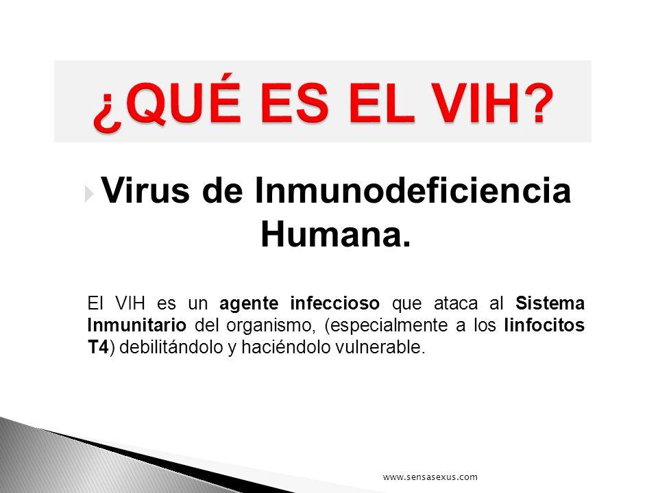 Virus de Inmunodeficiencia Humana. El VIH es un agente infeccioso que ataca al Sistema Inmunitario del organismo, (especialmente a los linfocitos T4)